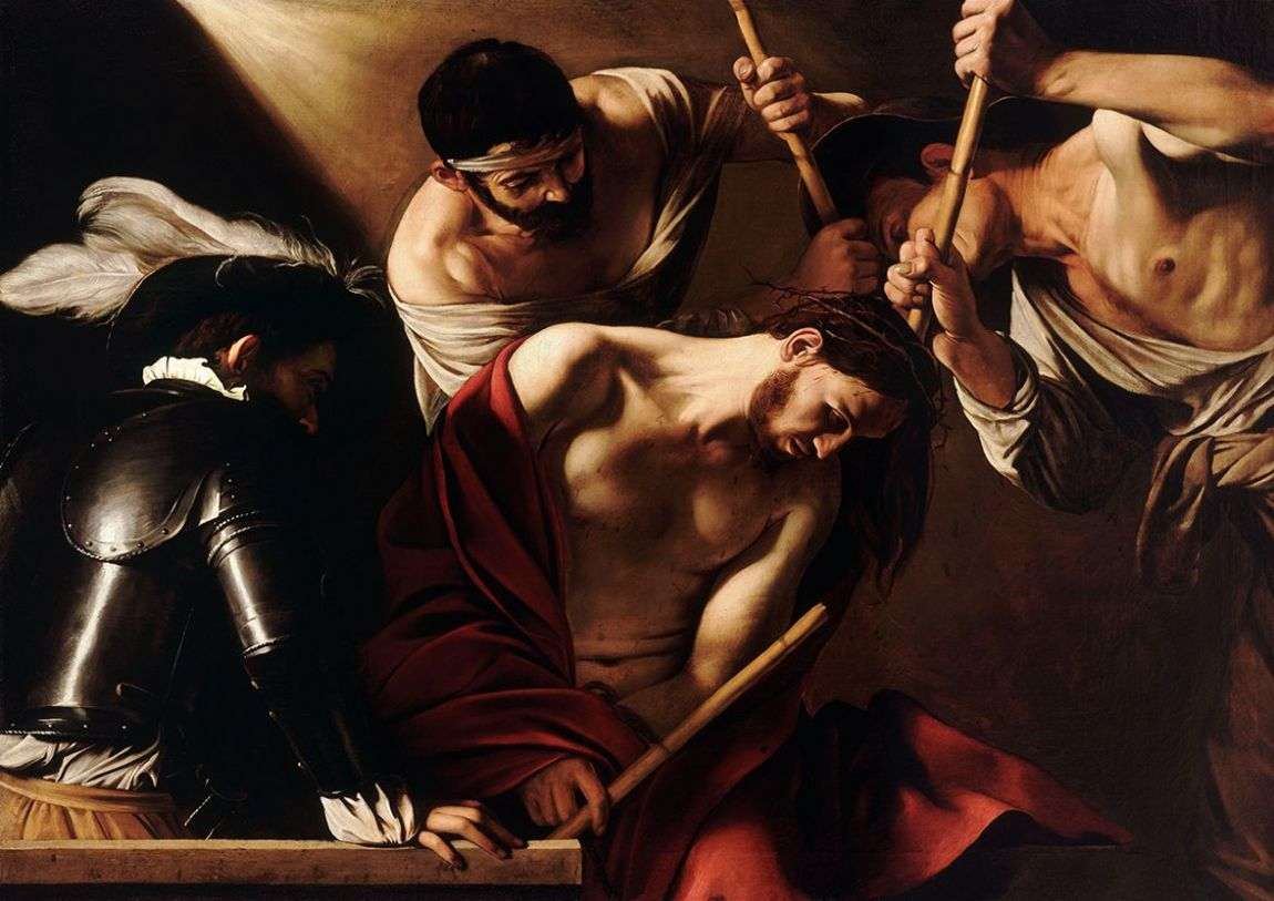 Caravaggio, Michelangelo Merisi da: The Crowning with Thorns. Fine Art Print/Poster. Sizes: A4/A3/A2/A1 (002063)